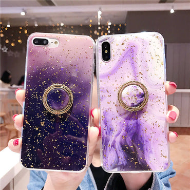 Purple Glossy Gold Foil Abstract iPhone Case with Ring Holder