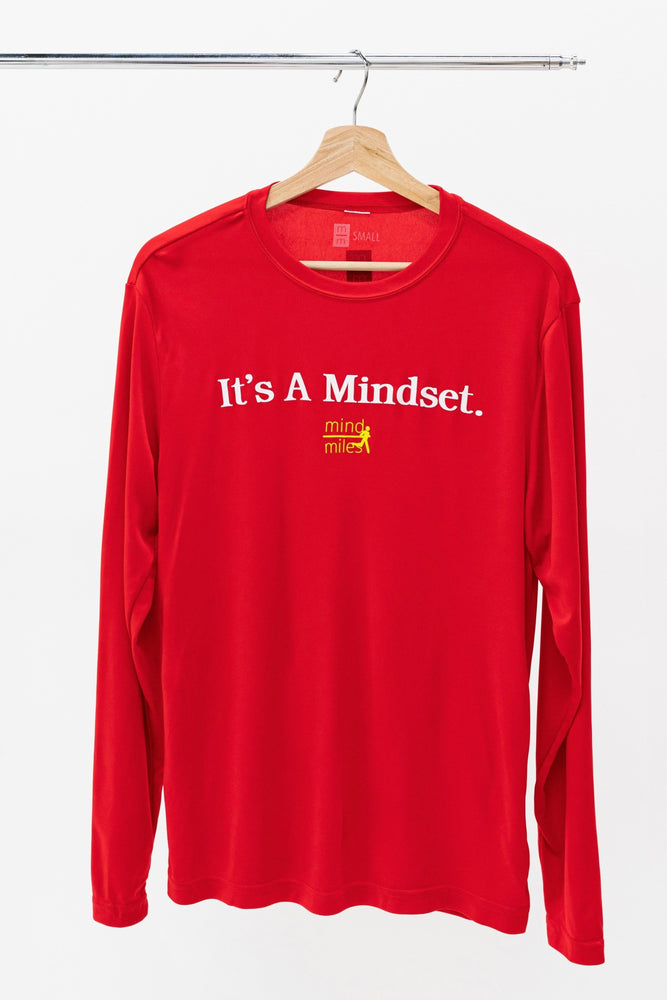 MEN'S RED LONG SLEEVE IT'S A MINDSET TEE