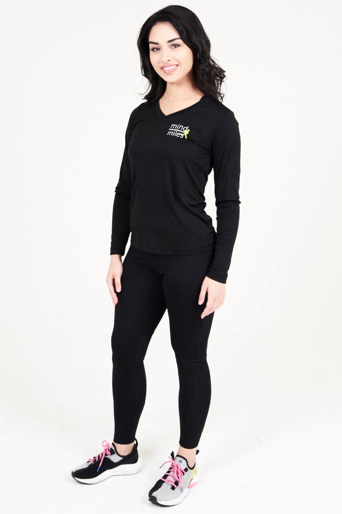 WOMEN'S BLACK LONG SLEEVE TEE