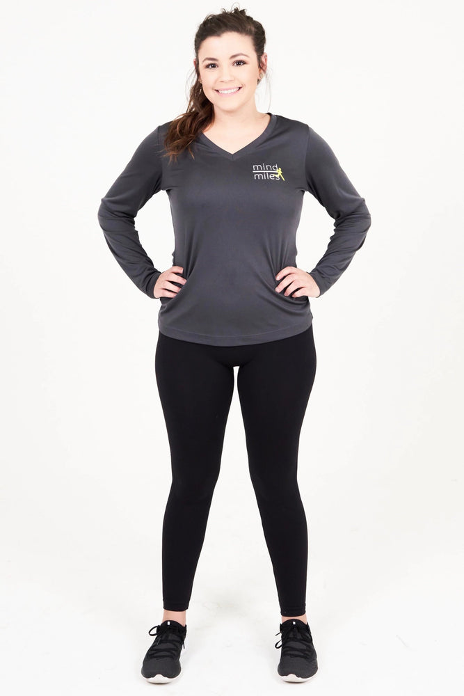 WOMEN'S GRAY LONG SLEEVE TEE