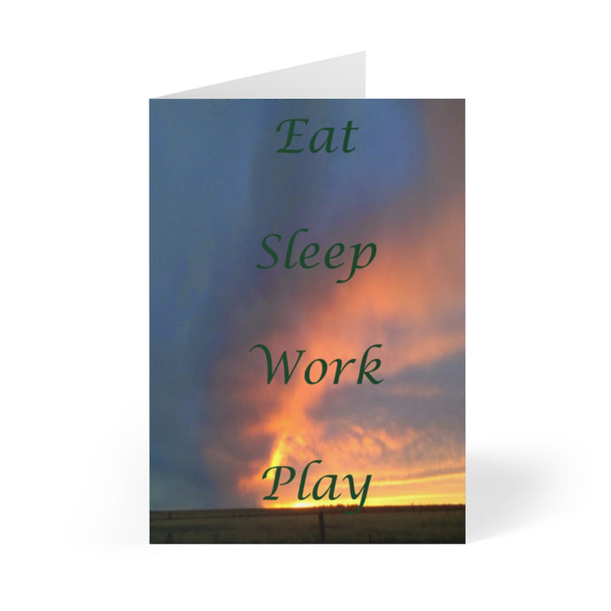 Eat, Sleep, Work, Play Greeting Cards 8 piece set