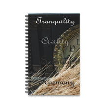 Load image into Gallery viewer, Tranquility, Civility, Serenity, Harmony on Clock Spiral Journal (EU)