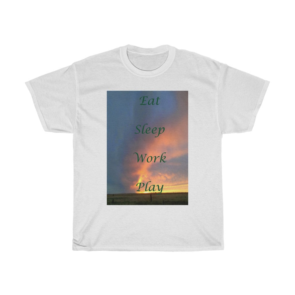 Eat, Sleep, Work, Play Unisex Heavy Cotton Tee