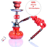 Small Hookah Shisha Pipe Set Chicha Nargile with Hose Bowl Tongs Charcoal Tray Narguile Accessories for Outdoor Travel Gift