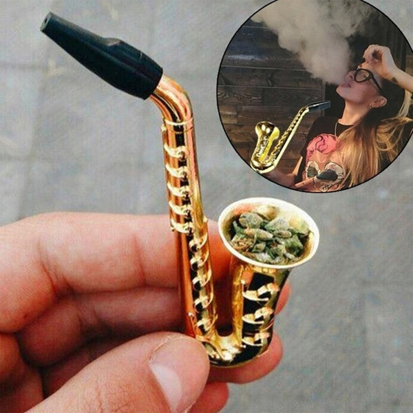 Unique Saxophone Mini Portable Smoking Pipes Metal Tobacco Pipe Hookah Gifts