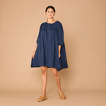 Organic Cotton Fleur Dress - Navy Ink