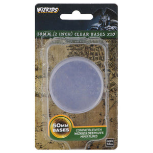 WizKids Deep Cuts Unpainted Miniatures: 50mm Round Base (10) Clear