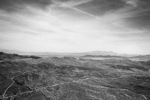 Grand Canyon Valley B&W Photographic Art Print