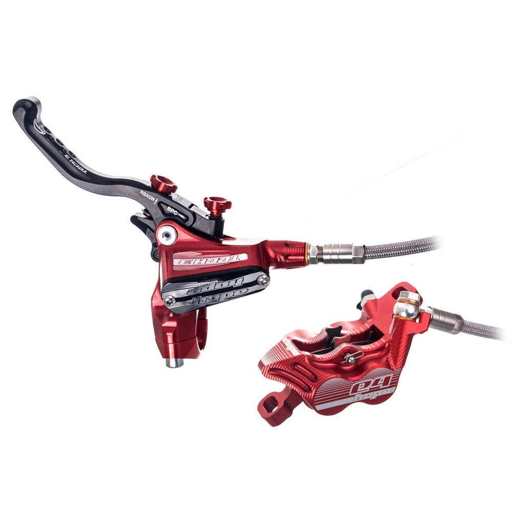 Hope Brake Set Tech 3 E4 Braided Hose -Red (Pair) - ReEvolution Singapore