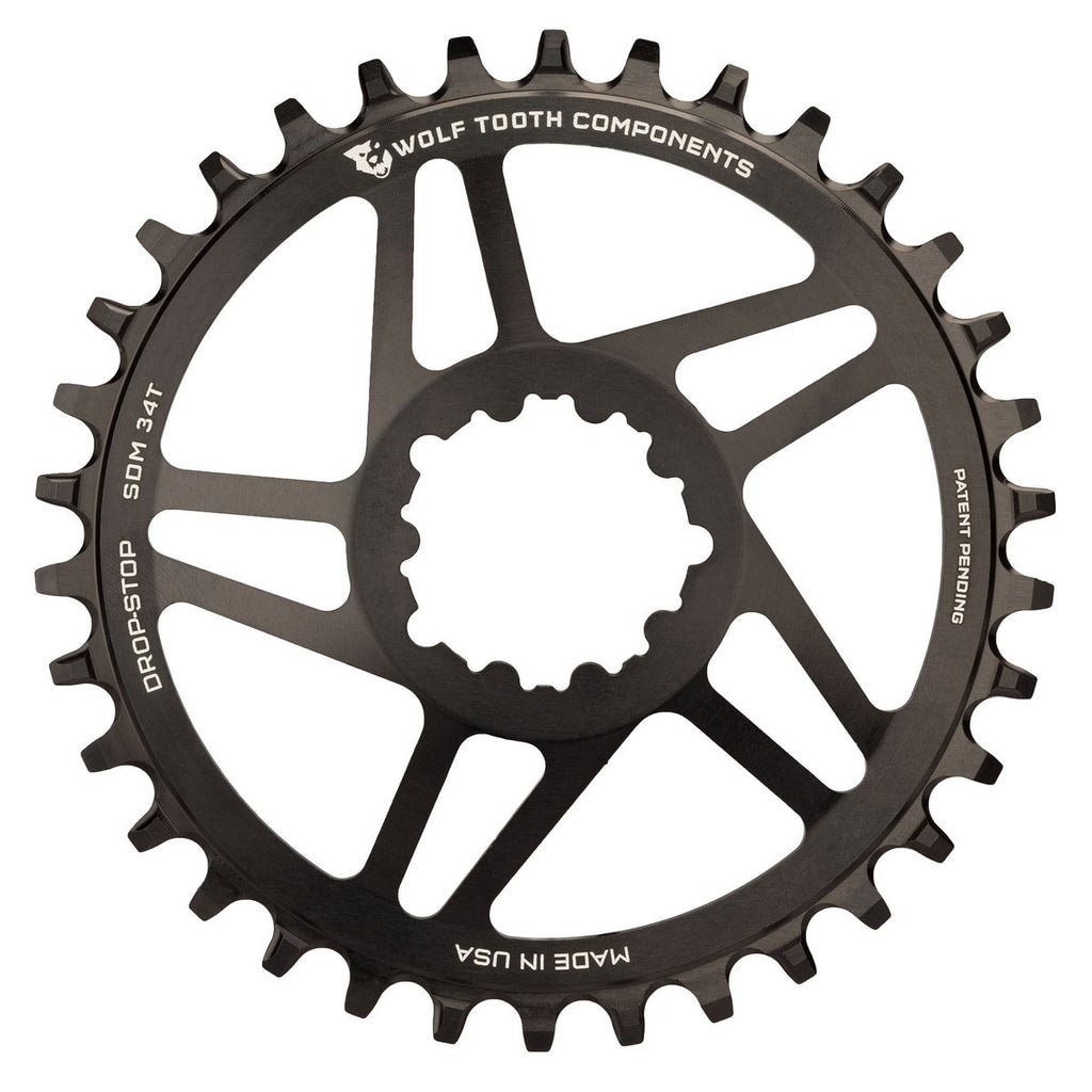 Wolftooth Direct Mount Chainring for SRAM Crank 34T (49mm chainline/6mm offset)-Black