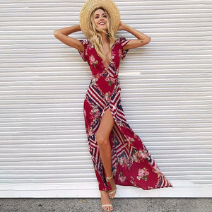 Red Boho V Neck Maxi Dress