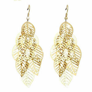 Retro Bohemian Tassel Leaf Earrings