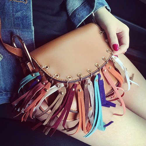 Bohemian Colorful Fringe Crossbody Bag