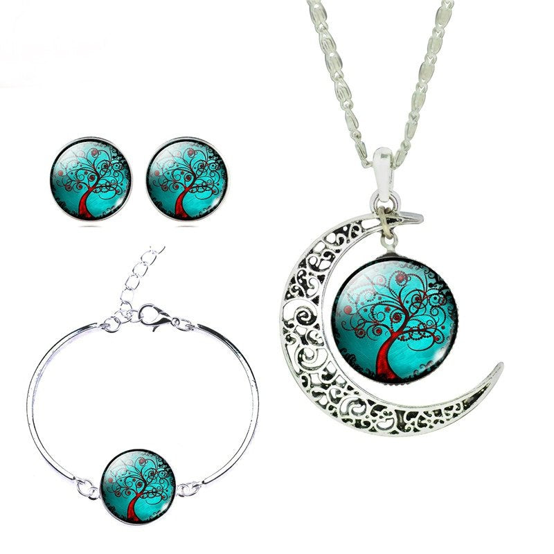 Glass Cabochon Necklace, Earrings, & Bangle Set