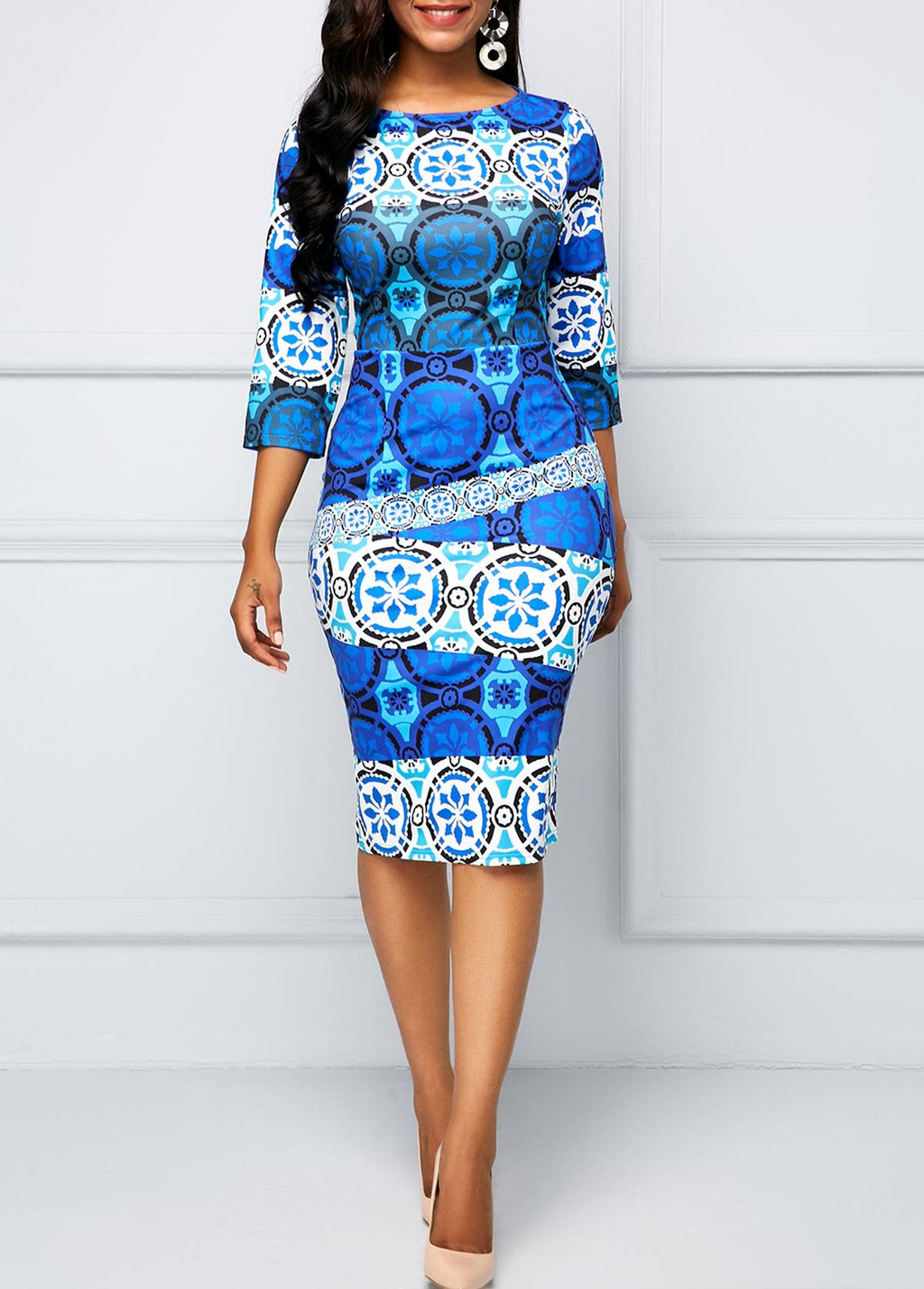 Sky Blue Spring Dress | African Inspired Casual Dress | Vintage Style Dress
