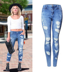 Ripped Blue Skinny Jeans | Boho Jeans | Butt Lift Jeans