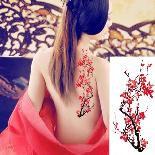 Roses Temporary Tattoos | Cherry Blossoms Body Art