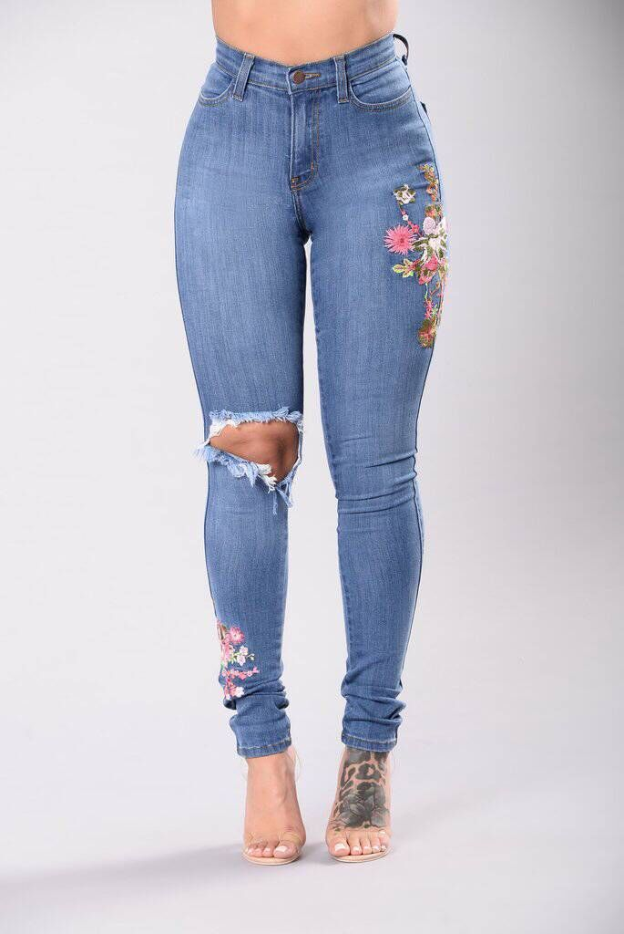 Embroidered High-Waist Skinny Jeans | Butt Lift Jeans