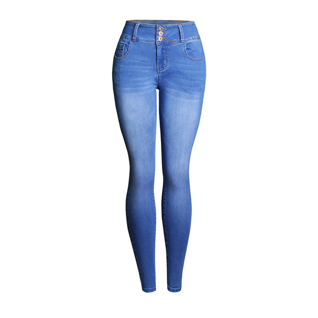 High Waist Dark Blue Skinny Jeans | Boho Jeans | Butt Lift Jeans