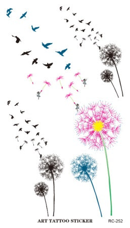 Color Dandelion Temporary Tattoo