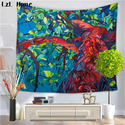 Colorful Tree Of Life Tapestry | Bohemian Wall Hanging Art | Animal Tapestry