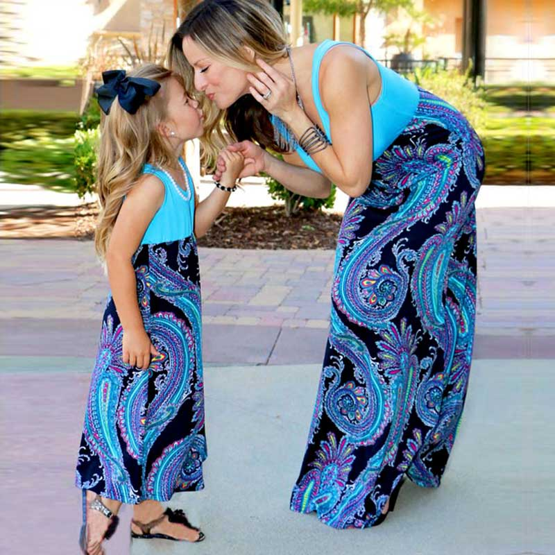 Mother Daughter Boho Blue Paisley Dresses