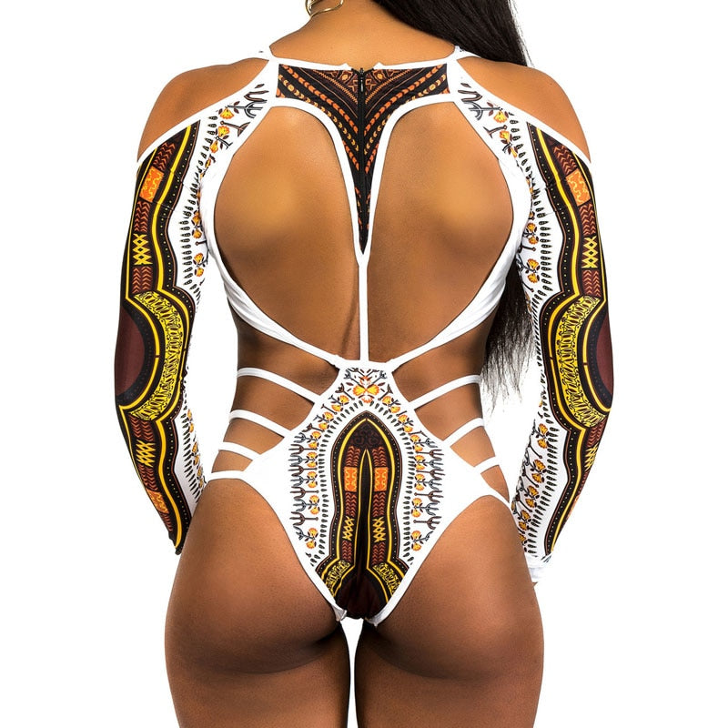 African Print Swimwear | Boho Style One Piece Swimsuit