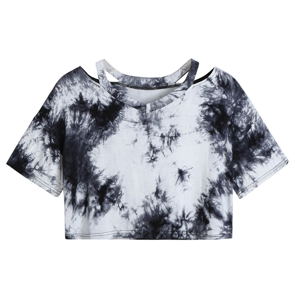 Black & White Short Sleeve Tie Dye Top