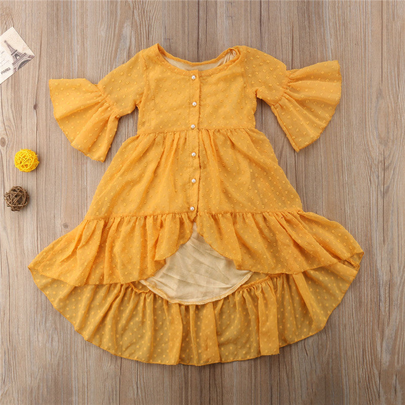 Yellow Ruffle Boho Maxi Dress | Toddler Bohemian Summer Dress
