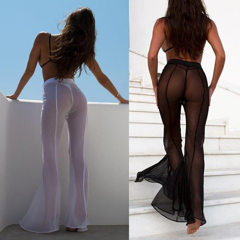Sheer Flared Leg Pants