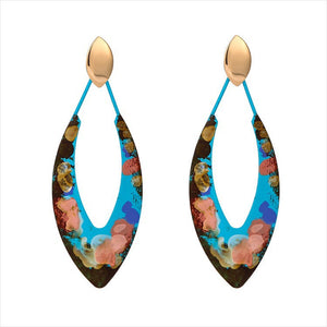 Individuality Graffiti Leaf-Shaped Earrings