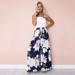 Bohemian Floral Palazzo Pants | High Waist Wide Leg Culottes