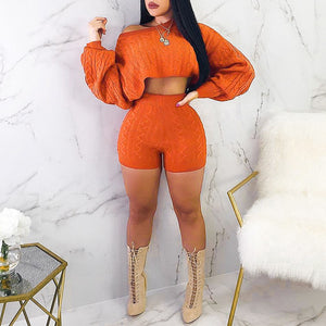 Knitted Two Piece Short Set