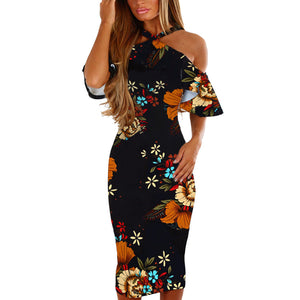 Vintage Floral Off Shoulder Party Dress