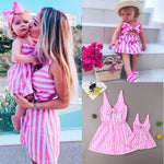 Mother Daughter Summer Striped Dresses