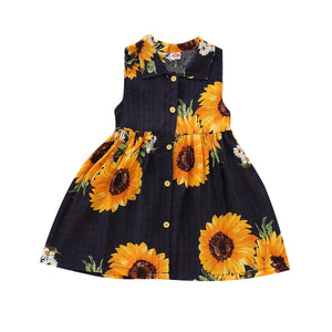 Summer Baby Boho Sleeveless Sunflower Sundress