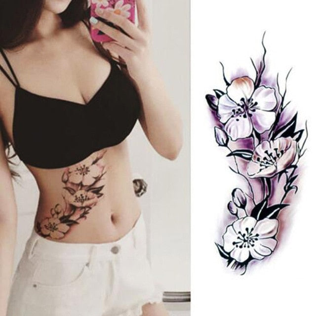 fake flower tattoo