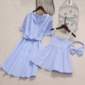 Cute Mother Daughter Light Blue Dress