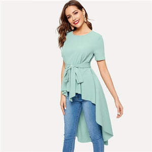 Mid Waist Belted Blouse