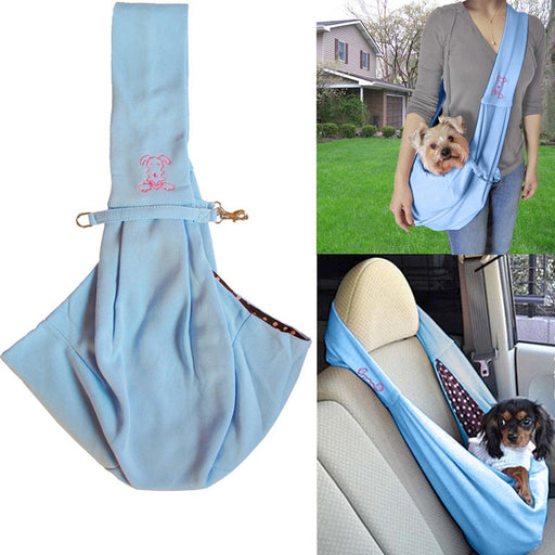 Cozy Toy & Small Dog Carrier Sling with Polka Dotted Interior