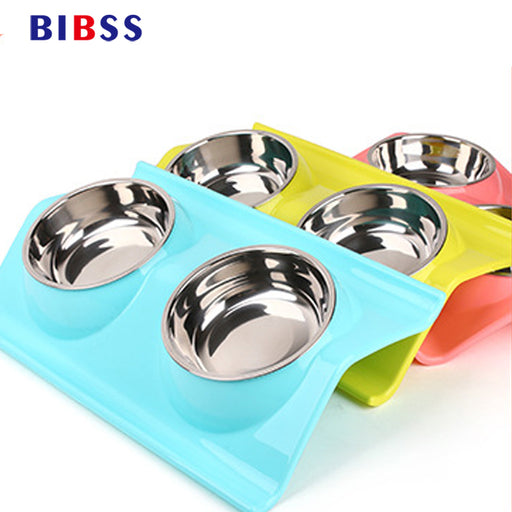 Bright Modern Double Dog Bowl for Toy & Small Dogs