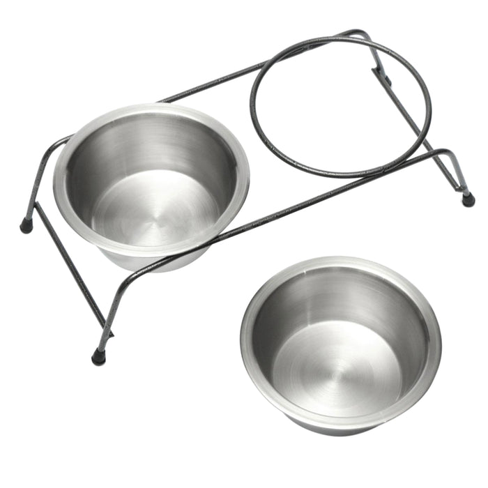 Stainless Steel High Rise Double Dog Bowl