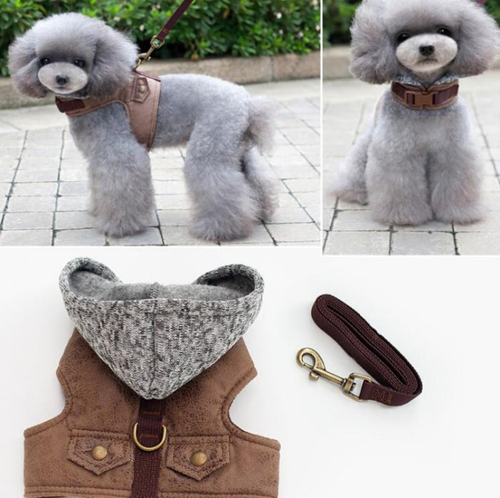 Attractive Toy Dog Jacket/Hoodie Harness With Leash