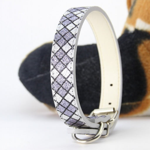 Cascading Diamonds Print Leather Dog Collar