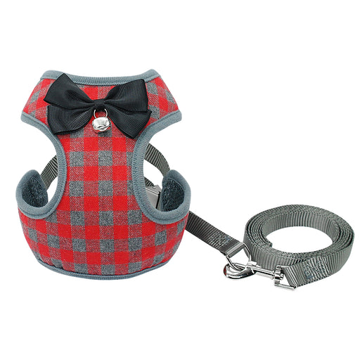 Gingham Style Harness and Leash Set with Bow Tie For Small Dog
