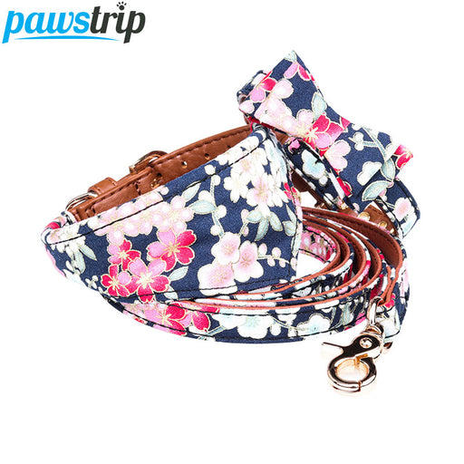 Elegant Floral Dog Bow Collar/Bandana Collar/Leash