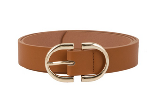 Oval Buckle Belt [Cognac]