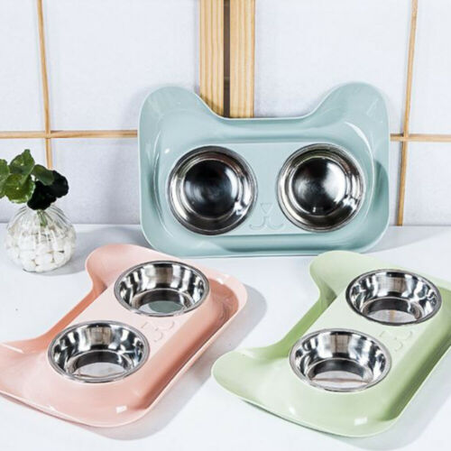 Stainless Steel Double Bowl Non Slip Safety Material Pet Feeder  Water Food Container - doggiebox Australia