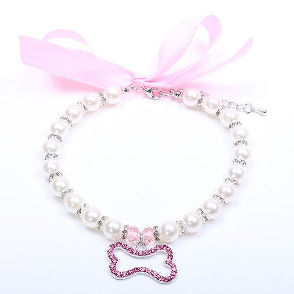 Pet Dog Pearls Necklace Collar Rhinestons Bone Charm Jewelry Accessories for Female Dogs Cats - doggiebox Australia
