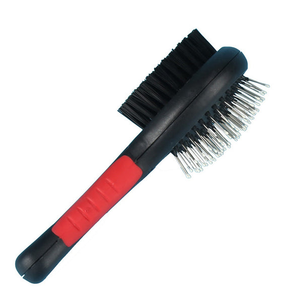 1PC Double Faced Plastic Handle Pet Dog Comb Long Hair Brush - doggiebox Australia